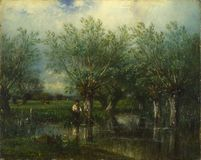 Jules-Louis Dupr - Willows, with a Man Fishing stock images