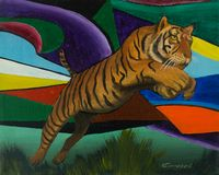 Jumping tiger against a colorful background. Oil painting of a jumping tiger in front of a colorful background vector illustration