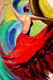 Oil painting lady dance. Ballet Royalty Free Stock Photo