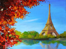 Oil painting - lake near the Eiffel Tower Royalty Free Stock Image