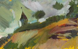Oil painting landscape royalty free stock photo