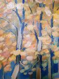 Oil painting landscape. Autumn forest. Colorful hand drawn. royalty free stock photos