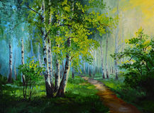 Oil painting landscape - birch forest, abstract drawing royalty free illustration