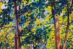 Oil painting landscape on canvas - autumn trees. Oil painting landscape on canvas - colorful autumn trees. Semi abstract image of forest, trees with yellow leaf vector illustration