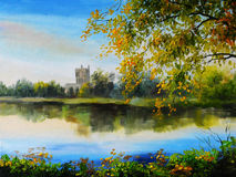 Oil painting landscape - castle near lake, tree over the water royalty free stock image