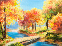 Oil painting landscape - colorful autumn forest Royalty Free Stock Photography