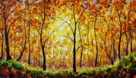 Oil painting landscape - colorful autumn forest stock image