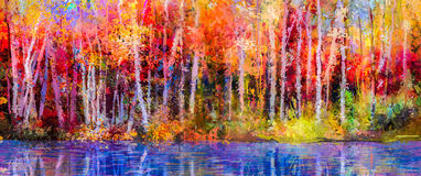 Oil painting landscape - colorful autumn trees. Oil painting colorful autumn trees. Semi abstract image of forest, aspen trees with yellow - red leaf and lake Royalty Free Stock Photo