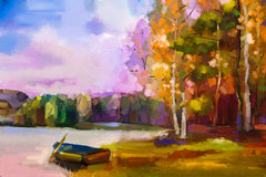 Oil painting landscape - colorful autumn trees Royalty Free Stock Photos