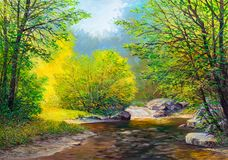 Oil painting landscape. Colorful summer forest, beautiful river with a waterfall royalty free stock image