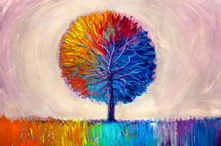 Tree oil painting, artistic background vector illustration