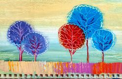 Trees, oil painting, artistic background vector illustration