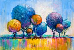 Trees, oil painting, artistic background royalty free illustration