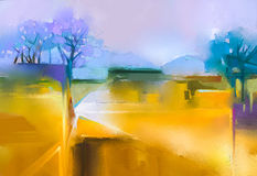 Oil painting landscape colorful yellow and purple sky Stock Photos