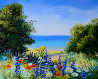 Oil painting landscape - field near the sea, wild flowers. Artwork, background Royalty Free Stock Photography