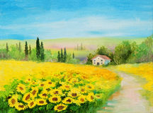 Oil painting landscape - field of sunflowers. Sunshine Royalty Free Stock Photography