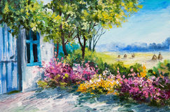 Oil painting landscape - garden near the house, colorful flowers. Summer forest Royalty Free Stock Photo