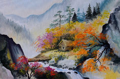 Oil painting - landscape in mountains, house in the mountains. Forest royalty free illustration