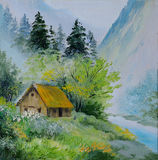 Oil painting - landscape in mountains, house in the mountains. And forests near the bridge, abstract drawing, outdoor, wallpaper vector illustration