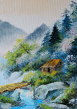 Oil painting - landscape in mountains, house in the mountains Stock Photos