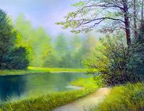 Oil painting landscape. Colorful summer forest, beautiful river with a waterfall stock images