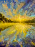 Oil painting landscape - Sunset dawn over lake water river sea. The rays of sun reflected in water. Green Forest Royalty Free Stock Images