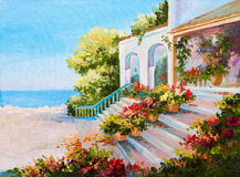 Oil painting landscape - terrace near the sea. Flowers stock photography