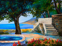 Oil painting landscape - terrace near the sea, flowers.  Stock Images
