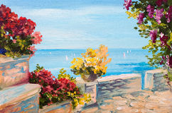 Oil painting landscape - terrace near the sea, flowers.  Royalty Free Stock Image