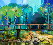 Oil painting landscape with wooden bridge over creek in forest. Hand painted Colorful summer nature forest with yellow and green- blue color vector illustration