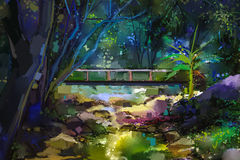 Oil painting landscape with wooden bridge over creek in forest. Hand painted Colorful summer nature forest with yellow and green- blue color royalty free illustration