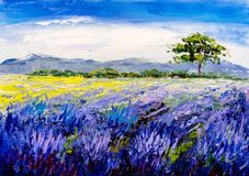 Oil Painting - Lavender Field at Provence, France Royalty Free Stock Images