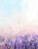 Oil painting lavender flowers in the meadows. Abstract oil painting sunshine at flower field in soft purple color and blur style with bokeh background Stock Image