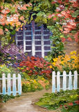 Oil painting - lots of flowers around the house, walkway. And white fence,colorful picture , abstract drawing, decoration; design Stock Photography