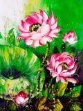 Oil Painting - Lotus vector illustration