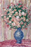 Oil painting. Lush bouquet of delicate pink flowers Stock Image