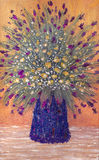 Oil painting. Lush bouquet in a vase Stock Photo