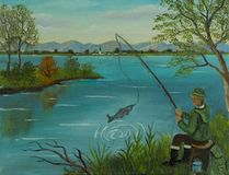 Man sits fishing and catches a fish stock illustration