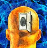 Open Mind. Oil Painting. Man`s head with opened door and fingerprint. Human elements were created with 3D software and are not from any actual human likenesses Stock Photos