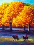 Oil Painting - Maple in Autumn vector illustration