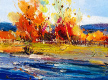 Oil Painting - Maple in Autumn Royalty Free Stock Photography