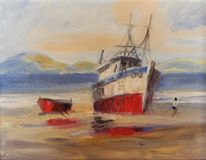 Oil Painting. Marine scene oil painting on canvas Stock Image Stock Images
