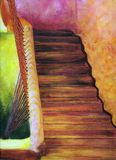 Oil painting, moroccan stairs Stock Photography