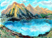 Oil painting Mountain lake. On paper Stock Images