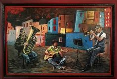 Oil painting of musicians playing on the street. Painting picture in oil with frame of some musicians playing. Painting of musical instruments in oil. Painter stock illustration