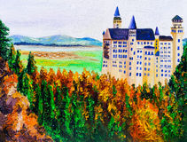 Oil Painting - Neuschwanstein, Germany Royalty Free Stock Photos