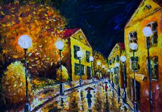 Oil painting - night evening city, yellow houses, white lights, people with umbrellas, wet road, reflection. Oil painting night evening city, French Village Stock Image