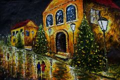 Oil painting - night evening city, yellow houses, white lights, people, wet road, reflection. Oil painting - night city street with old yellow orange houses royalty free illustration