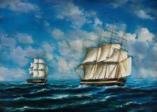 Free Oil Painting Of An Encounter Between Two Tall Ships On The High Seas Stock Photos - 215829433