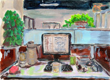 Oil painting office. Oil painting  my office on paper Royalty Free Stock Images